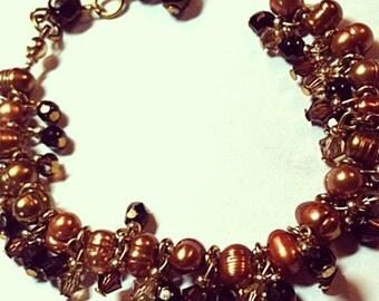 Fresh Water Pearls & Swarovski Crystals Bracelet