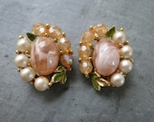 Vintage Clip-on Earrings - Pale Peach & White Pearl Beaded Costume Jewelry