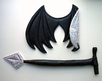 Two-toned Dragon Wings and Tail SET, dragon cosplay, Black and White Sparkle Metallic, wire free, dragon costume, , Halloween costume
