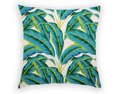Pillow Cover - Banana Palm - Green Pillow - Linen Cushion - Tropical Home Decor
