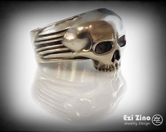Ezi Zino Armor Motif Skull ring sterling silver 925 Certificate of Authenticity