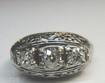 Antique Vintage Art Deco Diamond White Gold Engagement | Re: 715
