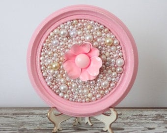 Pink Flower Picture - Mosaic art - Enamel Flower - 3d Bead Art - Shabby - Chic Girl Nursery Decor - Glitter Framed Art - Pastel Pink Pearl