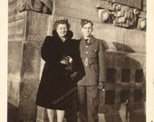 Handsome Soldier in Uniform poses with His Mother Vintage Photo  K17103