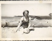 L07503 Woman wearing one piece Bathing Suit poses beside log Vintage Photograph