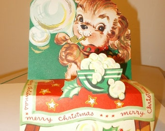 Puppy Dog Blows Bubbles Vintage Christmas Card 1950s Used Stand Up Display Card