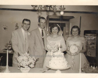 vintage photo Bride Groom Best Man and Maid of Honor Cake Flowers Candles
