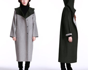 2 wears jackets gray and black jackets with larger hooded wool coat jacket
