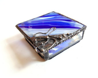 Stained glass jewelry box, small trinket box, blue glass box,  gift for her, hinged box, home decor, beveled box, gift for Mom
