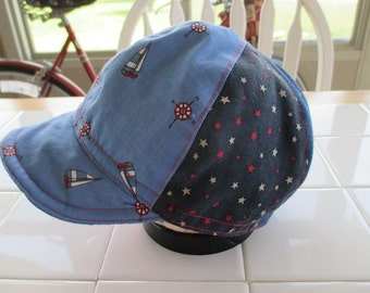 Sailboats, Compasses, Stars and Stripes Red White and Blue Prints - Boys Welding Cap - Toddler