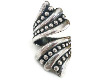 Balderas Sterling Ring, Taxco Mexico, Silver 925, Bypass Ring, Mexican Artisan, Boho Chic, Vintage Jewelry, Size 6