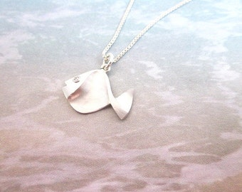 Tiny Fish Necklace -- Silver Fish Necklace -- Fish Jewelry -- Tiny Silver Necklace -- Fish Pendant Necklace -- Gift Box Included