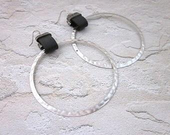 Hammered Hoop Earrings -- Large Hoop Earrings -- Silver Hoop Earrings -- Hammered Silver Earrings -- Leather Strap Earrings --Hammered Hoops