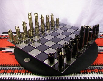 50 CALIBER BULLET shell chess set with steel board