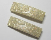 Polymer Clay Barrettes - Pair of 1.75 Inch - Faux Opal