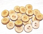 "20 Handmade plum wood Tree Branch Buttons with Bark, accessories (0,83'' diameter x 0,16"" thick)"