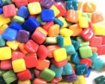"8mm(5/16"") Rainbow Tiny Glass Mosaic Tiles-50g//Discount Mosaic Supplies//Mini Glass Tiles//micromosaic"