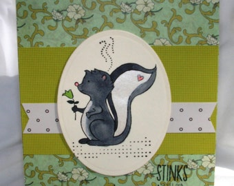 Funny Birthday Card Getting Old Stinks Skunk Greeting Card