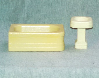 REDUCED Strombecker Doll House Bathroom Sink and Tub, Wood, Cream, Ivory