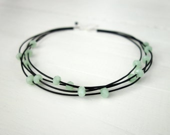 Leather statement choker layered leather necklace mint green beads choker necklace for women