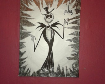Jack Skellington, Nightmare Before Christmas, Mixed Media Painting