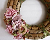 Wine Cork Wreath - Pink Roses and Green Ribbon - Easter, Spring, Summer, Home Wall Decor