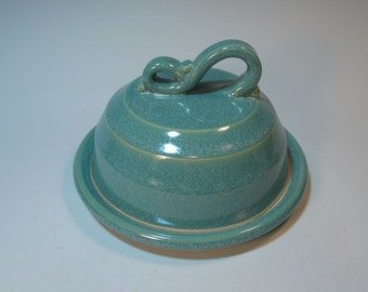 Frosty Aqua Green Butter Dish or Cheese Server - In Stock Ready to Ship