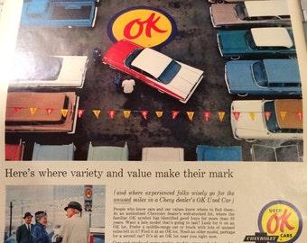 Chevrolet ad circa 1961 10 1/2 x 14 aporox. Ok used cars.