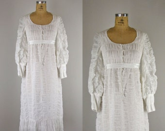 1960s Vintage Dress l 60s White Cotton Gauze Puckered Dress
