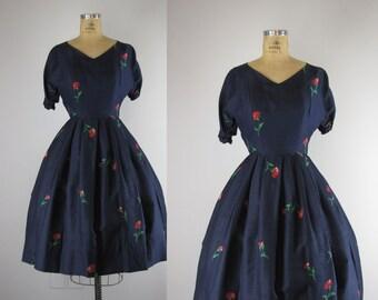 1950s dress / 50s silk party dress / Scattered Flowers dress