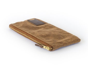 NO. 239 Waxed Canvas Travel Pouch in Brown Personalized Gift for Him Graduation Gift Zipper Pouch for Passport Made in USA