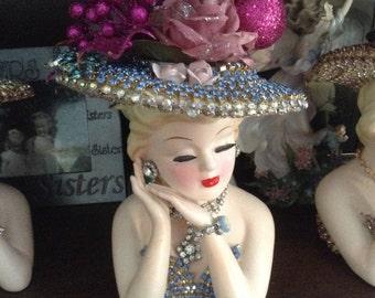 Jeweled 2900 lady head vase in blue jewels
