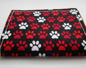 Travel Wallet,  Minimalist Wallet, Business Card Holder, Credit Card Wallet, Small Wallet, Slim Wallet, Card Case, Fabric Wallet,  Paw Print