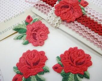 Vintage Rose Embroidered Appliques House of Franken Baby Rick Rack Lot Trims Craft Destash Vintage Sewing Notions Supplies