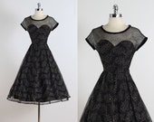 Fond Fairwell . vintage 1950s dress . vintage cocktail dress . 5393