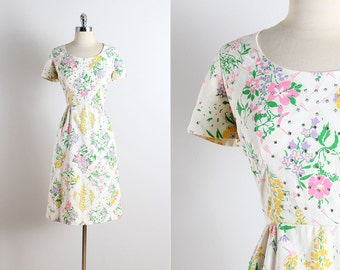 Vintage 60s dress | vintage Harold Grant 1960s dress | white colorful floral cotton | large | 5792