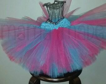 Fuchsia and Turquoise Tutu, pink and blue tutu, fuchsia and blue tutu, flower girl tutu, birthday tutu, blue and pink tutu size nb-14