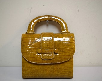 Vintage 50s/ 60s BIENEN DAVIS Gold Faux Crocodille Handbag with Top Handle EUC