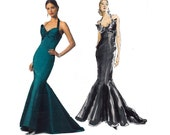 BELVILLE SASSOON Mermaid Fishtail Cocktail Gown Pattern Vogue 2931 Morticia Addams Evening Dress Pattern Size 6 8 10 UNCUT Factory Folds