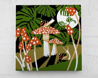 """MOONLIT SNAILS Paint By Number Kit -- 6x6"""" on hangable wood panel with brush and paints. 6 colors"""