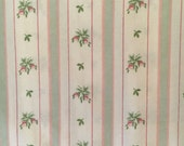Vintage Pillowcase - Pastel Pink and Green Floral and Stripes - Westpoint Stevens