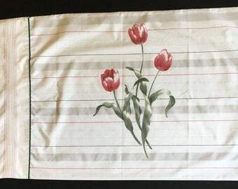 Vintage Pillowcase - Grey / White with Pink Tulips - Springmaid