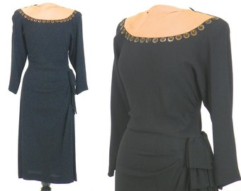 1940s Dress, Vintage 40s Dress, Rayon Crepe Cocktail Dress with Draped Hip Swag, Brucewood Custom Original, Medium
