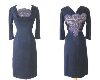 Vintage 50s Dress, 1950s Cocktail Dress, Illusion Lace Shelf Bust Wiggle Dress, Small