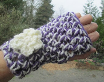 Purple and White Fingerless Crocheted Acrylic Gloves by SuzannesStitches, Purple Fingerless Gloves, Chunky Gloves, Girls Gloves, Sport Glove