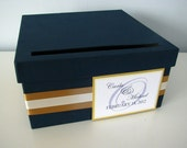1 week rush production 10 inch black card box with yellow and silver ribbon/tag