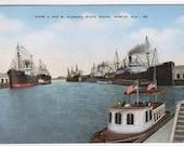 Steamer Ship Docks Mobile Alabama linen postcard