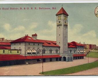 Mount Royal Station B & O Railroad Depot Baltimore Maryland 1910c postcard