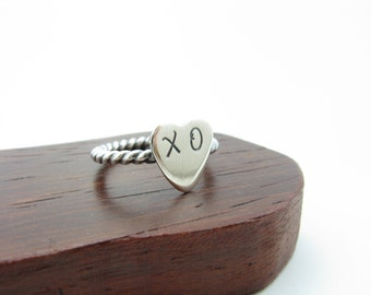 Sterling Silver XO Ring Hugs and Kisses Ring Heart Shaped Stacking Ring Handmade Metal Jewelry Size 5 Ring Gifts for Her Gifts under 40