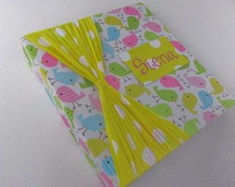 PHOTO ALBUM Baby Photo Album Baby Girl Photo Album Photo Album Personalized photo album 4x6 5x7 8x10 600 pictures Pink yellow polka dot